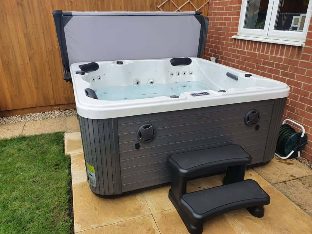 Happy hot tub
