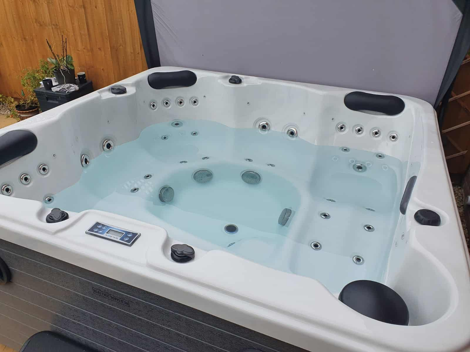 Happy hot tub